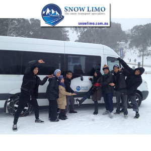 snow limo bus at mt buller carpark in the snow