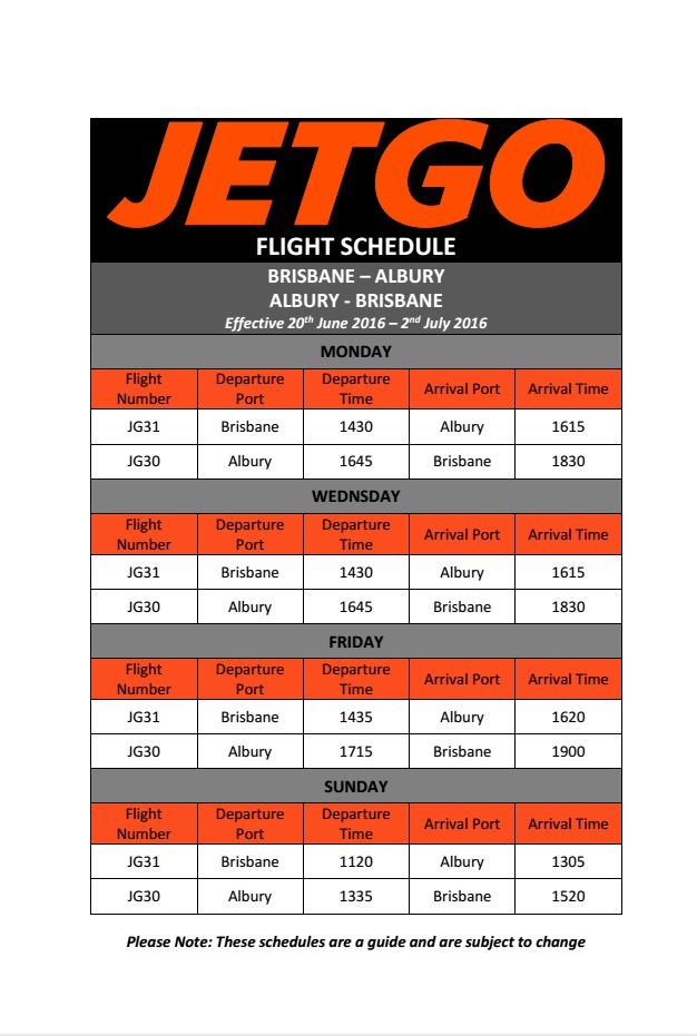 jetgo flight timetable brisbane to albury for snow limo transfers to hotham buller falls creek